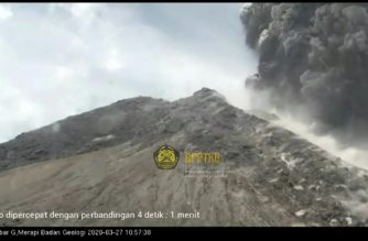 ndonesia's most active volcano Mount Merapi erupts, shooting a column of ash some 5,000 metres (16,000 feet) into the air in its second major eruption this month.  (Screenshot from video of INDONESIA GEOLOGICAL DISASTER TECHNOLOGY AGENCY/AFP)