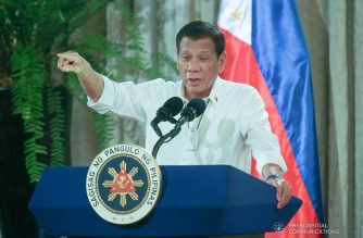 President Rodrigo Roa Duterte delivers a speech during the oath-taking ceremony of the newly-appointed government officials at the Malacañan Palace on March 3, 2020. ALBERT SIMEON CELI JR./PRESIDENTIAL PHOTO