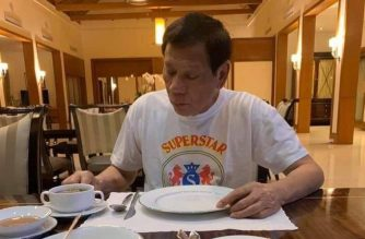 "President Rodrigo Duterte spending his 75th birthday alone while under self-quarantine on Saturday, March 28, 2020.  (Cropped versions of photo courtesy Senator Christopher ""Bong"" Go)"