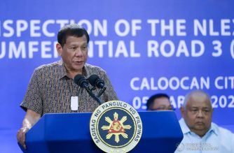 (File photo) President Rodrigo Duterte delivers a speech after leading the inspection of the North Luzon Expressway (NLEX) Harbor Link Circumferential Road 3 (C3)-R10 Section in Caloocan City on March 5, 2020. VALERIE ESCALERA/PRESIDENTIAL PHOTO