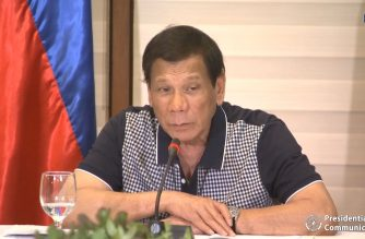 President Rodrigo Duterte delivers a video message warning local government officials who are not following national government directives on the quarantine due to COVID-19 outbreak early dawn of Friday, March 20, 2020.  Photo grabbed from RTVM/Courtesy RTVM)
