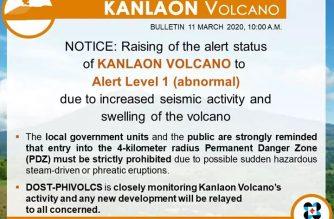 PHIVOLCS raises alert level on Kanlaon due to increased seismic activity, swelling of volcano