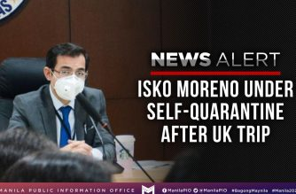 A post from the Manila PIO Facebook showing Manila mayor Isko Moreno wearing a facemask and announcing that he is currently under self-quarantine. (Courtesy Manila Public Information Office facebook)