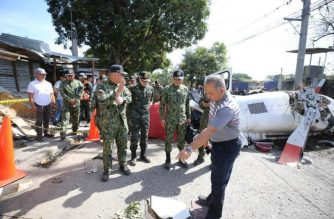 A photo taken during the ocular inspection on Friday. March 6, 2020,  at the site of the helicopter crash in San Pedro, Laguna.  PNP Director for Comptrollership PMGEN Jose Maria Victor Ramos is still fighting for his life after being resuscitated by doctors, according to the PNP acting spokesperson Benajmin Durana.  Ramos is one of two police general who are still in critical condition after sustaining severe injuries in the crash.  (Photo courtesy PNP PIO Facebook)