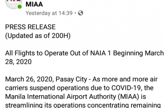 MIAA: Starting March 28, all flight ops to be concentrated in NAIA Terminal 1
