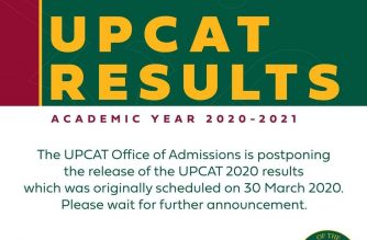 (Courtesy: University of the Philippines FB page) The UP Office of Admissions announced today, March 28, that the release of the results of the UPCAT 2020, originally scheduled on March 30, will be postponed in view of the enhanced community quarantine in various parts of the country.