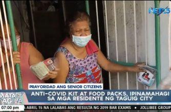 Anti-COVID kits at food packs, ipinamahagi sa mga residente ng Taguig City; senior citizens unang binigyan