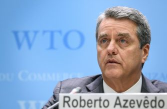 "World Trade Organization (WTO) Director General Roberto Azevedo addresses a press conference following a WTO general council meeting on December 10, 2019 at the intergovernmental organization's headquarters in Geneva. - WTO announced the launch of ""intensive"" political negotiations to salvage the appellate branch of the body's internal court, which is set to collapse under US opposition. (Photo by Fabrice COFFRINI / AFP)"