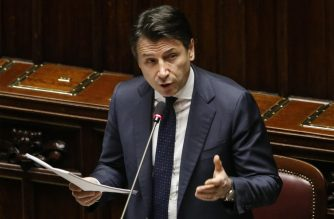 This photo provided by Italian news agency ANSA shows Italian Prime Minister Giuseppe Conte addressing Parliament in Rome on March 25, 2020 about the measures taken to counter the spread of the new coronavirus in Italy. (Photo by FABIO FRUSTACI / ANSA / AFP) / Italy OUT