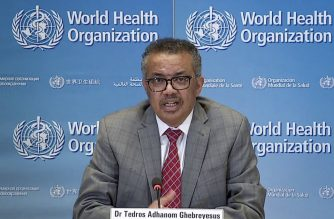 A TV grab taken from the World Health Organization website shows WHO Chief Tedros Adhanom Ghebreyesus via video link as he delivers a news briefing on COVID-19 (novel coronavirus) from the WHO headquarters in Geneva on March 30, 2020. - More than 35,000 people have died worldwide from the coronavirus pandemic since it emerged late last year in China, most of them in Europe, according to an AFP tally at 1615 GMT on March 30, 2020, using official figures. (Photo by - / AFP)