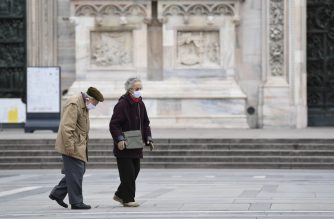 An elderly couple wearing protective masks walk across a deserted Duomo square in Milan on March 31, 2020, during the country's lockdown aimed at curbing the spread of the COVID-19 infection, caused by the novel coronavirus. (Photo by MIGUEL MEDINA / AFP)