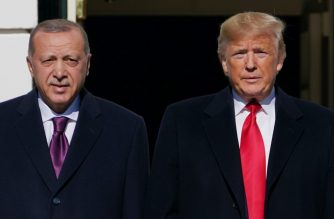 "(FILES) In this file photo US President Donald Trump greets Turkey's President Recep Tayyip Erdo?an(L) upon arrival outside the White House in Washington, DC on November 13, 2019. - US President Donald Trump and his Turkish counterpart Recep Tayyip Erdogan underlined on March 31, 2020 the need for ceasefires in Syria and Libya during the coronavirus pandemic, the White House said.The two spoke by phone on efforts to ""defeat the virus and bolster the global economy,"" the White House said in a statement. (Photo by MANDEL NGAN / AFP)"