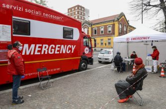 FILES: A picture taken in center Milan on April 1, 2020 shows people receiving assistance at the Politruck mobile clinic of Italian humanitarian NGO Emergency, which offers free basic health care for the homeless, the excluded and people with no financial resources during the country's lockdown aimed at curbing the spread of the COVID-19 infection, caused by the novel coronavirus. (Photo by MIGUEL MEDINA / AFP)