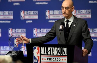 (FILES) In this file photo taken on February 14, 2020 NBA Commissioner Adam Silver speaks to the media during a press conference at the United Center in Chicago, Illinois. - On April 6, NBA Commissioner Adam Silver says he thinks it will be at least May before any decision can be made about resumption of the 2019-20 season that was shut down amid the coronavirus pandemic. (Photo by Stacy Revere / GETTY IMAGES NORTH AMERICA / AFP)
