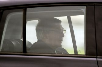 Australian Cardinal George Pell leaves after being released from Barwon Prison near Anakie, some 70 kilometres west of Melbourne, on April 7, 2020. - Cardinal George Pell's historic child sex abuse convictions were quashed by Australia's High Court on April 7, paving the way for the senior Catholic cleric's release from prison. (Photo by William WEST / AFP)