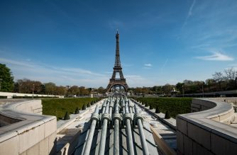 FILES: This picture taken on April 7, 2020 shows the Eiffel tower in Paris, on the 22nd day of a lockdown in France aimed at curbing the spread of the COVID-19 pandemic, caused by the novel coronavirus. (Photo by BERTRAND GUAY / AFP)