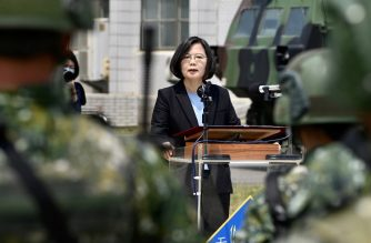 Taiwan President Tsai Ing-wen delivers her address to soldiers amid the COVID-19 coronavirus pandemic during her visit to a military base in Tainan, southern Taiwan, on April 9, 2020. - Taiwan currently has just 375 confirmed Covid-19 patients and five deaths despite its close proximity and trade links with China where the pandemic began, but the island and its 23 million inhabitants remain locked out of the World Health Organisation (WHO) and other international bodies after Beijing ramped up its campaign to diplomatically isolate Taiwan and pressure it economically and militarily. (Photo by Sam Yeh / AFP)
