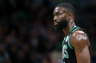 BOSTON, MASSACHUSETTS - FEBRUARY 29: Jaylen Brown #7 of the Boston Celtics looks on during the first half of the game against the Houston Rockets at TD Garden on February 29, 2020 in Boston, Massachusetts.   Maddie Meyer/Getty Images/AFP