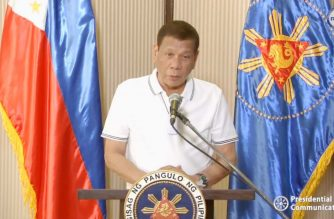 President Rodrigo Duterte addressing the nation on April 1, 2020 on the COVID-19 situation in the country.  (Screenshot of RTVM video/Courtesy RTVM)