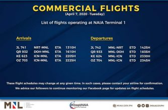 MIAA releases list of operational commercial flights as of Tuesday, April 7