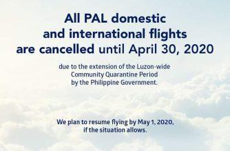 PAL cancels all domestic, international flights until April 30