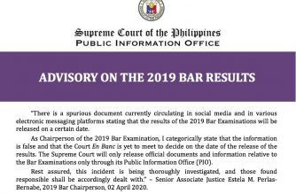 (Courtesy: Supreme Court Public Information Office). Associate Justice Estela Bernabe, Chairperson of the 2019 Bar Examinations, belied reports circulating online that a certain date has been set for the release of the results.