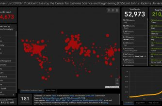 Screenshot of the virus dashboard of the Johns Hopkins University showing more than a million global cases, and recoveries at more than 200,000.  Fatalities have also reached more than 52,000.  (Courtesy Johns Hopkins University virus dashboard)