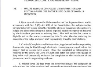 (Courtesy: Supreme Court Public Information Office) The Supreme Court issued on March 31 Administrative Circular No. 33-2020, which allowed the filing of complaints and bond applications via electronic transmission, to further limit the physical movement of judges, litigants, and court personnel during the COVID-19 health emergency.
