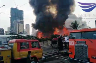 A fire hit a residential area in Manila on Wednesday, April 15. The fire displaced around 40 families, and caused P100,000 worth of damage to property, the BFP said./Ronald Bacani/Eagle News/