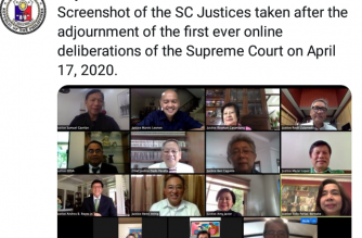 Screenshot of the SC's Tweet of its first-ever online en banc session on Friday, April 17./SC Twitter account/