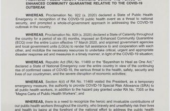 (Courtesy: Presidential Communications Operations Office) President Duterte signed Administrative Order No. 28, authorizing the grant of Special Risk Allowance for public health workers in the forefront of the fight against COVID-19.