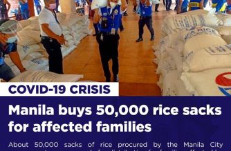 (Courtesy: Manila Public Information Office) The city government of Manila has bought 50,000 sacks or about P2.5 million kilos of rice, for distribution to around 517,000 families in the city amid the COVID-19 crisis.