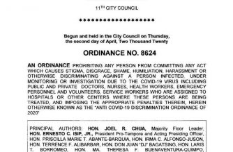 """The City of Manila passed the """"Anti-Covid 19 Discrimination Ordinance of 2020"""", making it illegal for any person to shame or discriminate against a confirmed COVID-19 patient, PUIs, PUMs, health workers, and other frontliners.  Violators will be punished with P 5000 fine or imprisonment not exceeding 6 months, or both, at the court's discretion."""