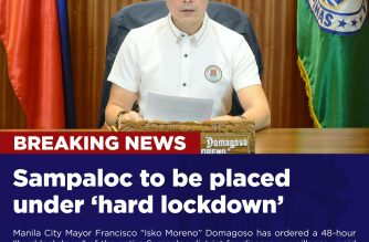 """Sampaloc district in Manila will be placed on a 48-hour """"hard lockdown"""" beginning Thursday, April 23, to allow authorities to conduct disease surveillance, testing and rapid risk assessment in view of the rising COVID-19 cases in the city.  Of Manila's 458 confirmed cases, 99 were recorded in Manila as of Monday, April 21."""