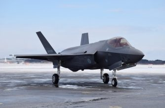 This picture taken on January 26, 2018 shows a F-35A stealth fighter jet of Japan's Self-Defence Forces at Misawa airport in Aomori prefecture. - A Japanese F-35A stealth fighter jet with one pilot on board disappeared off the radar while on a training mission over the Pacific on late April 9, 2019, the defence ministry said. (Photo by JIJI PRESS / JIJI PRESS / AFP) / Japan OUT