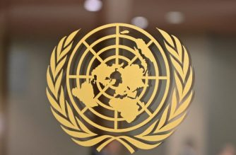 The United Nations logo is seen at the United Nations Headquarters in New York on September 24, 2019. (Photo by Angela Weiss / AFP)