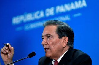 Panama's President Laurentino Cortizo gestures during a press conference at the Las Garzas Presidential Palace, in Panama City, on December 18, 2019. - The government of Panama declared December 20 as a day of national mourning, to mark the deadly US invasion to Panama on 1989, to remove Panama's General Manuel Antonio Noriega from power and bring him to the US for trial on drug charges. (Photo by Luis ACOSTA / AFP)