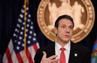 (FILES) In this file photo taken on March 2, 2020 New York Governor Andrew Cuomo speaks during a press conference to discuss the first positive case of novel coronavirus or COVID-19 in New York State, in New York City. - New York Governor Andrew Cuomo on May 17, 2020 took a coronavirus test during his televised briefing and urged any fellow New Yorkers with symptoms or having been exposed to the virus to follow his example. (Photo by Angela Weiss / AFP)