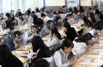 Students sit behind protective screens as a preventative measure against the COVID-19 novel coronavirus as they eat lunch at a high school in Daejeon on May 20, 2020. - Hundreds of thousands of South Korean students returned to school on May 20 as education establishments started reopening after a coronavirus delay of more than two months. (Photo by Yonhap / YONHAP / AFP) / - South Korea OUT / REPUBLIC OF KOREA OUT  NO ARCHIVES  RESTRICTED TO SUBSCRIPTION USE