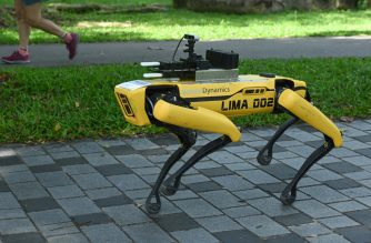 "(FILES) In this file photo taken on May 8, 2020, a four-legged robot called Spot, which broadcasts a recorded message reminding people to observe safe distancing as a preventive measure against the spread of the COVID-19 coronavirus, is seen during its two-week trial at the Bishan-Ang Moh Kio Park in Singapore. - A yellow robot dog called Spot which found fame online for dancing to hit song ""Uptown Funk"" has been deployed to patrol a Singapore park and ensure people observe social distancing. (Photo by Roslan RAHMAN / AFP)"