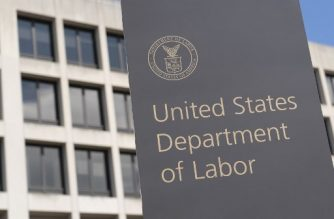 (FILES) In this file photo taken on March 26, 2020, the US Department of Labor Building  in Washington, DC. - Another 2.43 million US workers were put out of work last week amid the coronavirus pandemic, according to government data released on May 21, 2020, bringing the total since mid-March to a massive 38.6 million. The Labor Department data on new first-time claims for unemployment benefits for the week ended May 16 was another decrease from prior weeks as the rate of new filings continued to slow, but the job losses remained among the highest on record. (Photo by Alex Edelman / AFP)