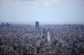 A picture taken on May 24, 2020, shows the Lebanese capital Beirut's southern (background) and eastern suburbs (foreground). (Photo by PATRICK BAZ / AFP)