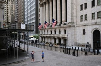 NEW YORK, NEW YORK - MAY 18: The New York Stock Exchange (NYSE) stands in lower Manhattan on May 18, 2020 in New York City. Markets surged today as promising details of a potential COVID-19 vaccine were released and more European countries gradually re-opened after months of lockdown.   Spencer Platt/Getty Images/AFP (Photo by Spencer Platt/Getty Images)
