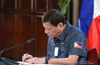 (File photo) President Rodrigo Roa Duterte reviews a document while holding a meeting with members of the Inter-Agency Task Force on the Emerging Infectious Diseases (IATF-EID) at the Malago Clubhouse in Malacañang on May 11, 2020. ACE MORANDANTE/PRESIDENTIAL PHOTO
