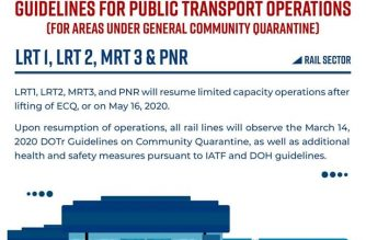 "DOTr: Rail transport ops to resume but in ""limited capacity"" once ECQ is lifted in M. Manila, other areas"