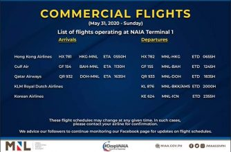 MIAA releases list of operational commercial flights for Sunday, May 31