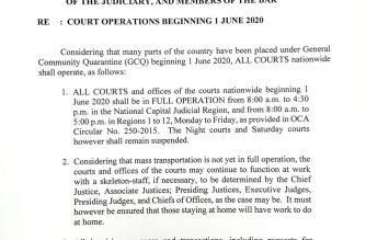 All courts in the country will start full operations on June 1, but may still deploy only a skeleton workforce on-site, the SC said./SC/