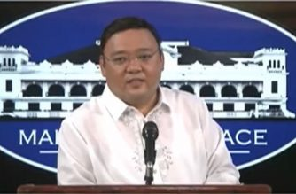 Presidential Spokespersom Harry Roque holds a virtual presser on Tuesday, May 19, 2020 in Malacanang. Screengrab from PCOO/RTVM video (Courtesy PCOO/RTVM)