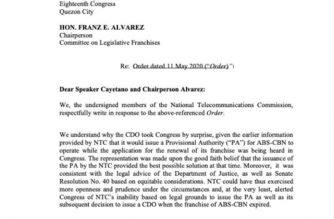 This is the first page of the NTC's response to the show-cause order issued by a House committee over its decision to shut down several of ABSCBN's operations due to an expired franchise.