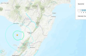 Locator map with intensity indicators from the United States Geological Survey (USGS).  (Courtesy USGS/https://earthquake.usgs.gov/earthquakes/eventpage/us70009pku/map)